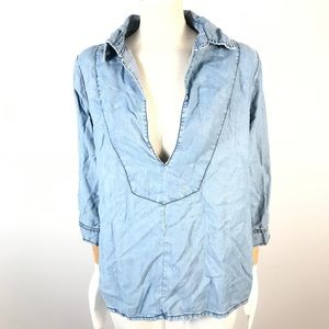 one x one teaspoon chambray top pullover
